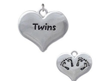 Twins, Heart with Two Pair of Baby Feet, Silver Plated Charm, Qty.1