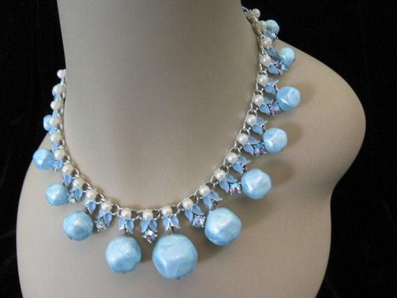 Vintage  Ab Rhinestone Necklace - Vintage Necklace w/ Rhinestone, Faux Pearls, Enamel, Blue Bead