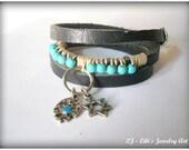 Leather bracelet, Judaica elements silver Hamsa and Magen of David Black triple wrap Leather Bracelet