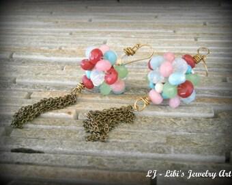 Cluster gemstone earrings, Colorful Earrings, Beads Earrings, Pendant Earrings, Ball Earrings, Dangle long earrings, Bearthstone Earrings