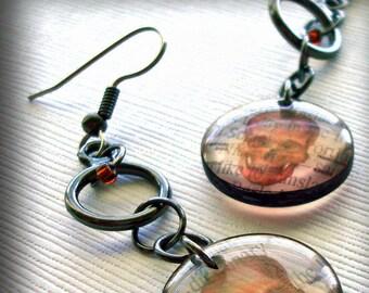 Skull earrings,sepia resin earrings,gun metal earrings, drop earrings