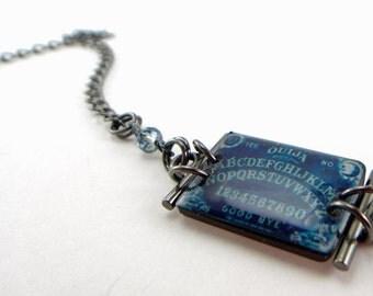Ouija by moonlight bracelet , Ouija board bracelet, blue ouija, goth bracelet , gifts under 25