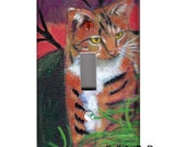 Cat light switch cover Tabby tiger painting Art