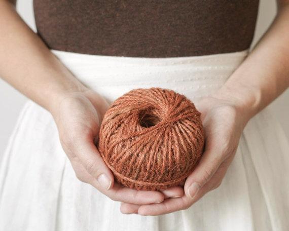 Vintage Jute Twine Ball - Rusty Pumpkin Orange, Rustic Craft String