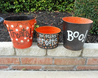 Halloween Buckets Custom Order for 3 on this listing