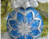 Blue Christmas Ornament snowflake quilted ribbon with snowflake charm