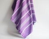 Shipping with FedEx - Turkish BATH Towel - Classic Peshtemal - Purple - Beach, Spa, Swim, Pool Towels and Pareo