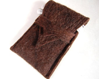 Wool  Felt iPhone Case -  iPod Touch Case - Brown Merino Wool Felt with Silk Accents