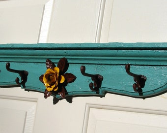HR009- Turquois Hat Rack with Yellow Rose