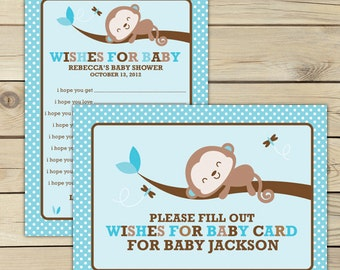 Monkey Baby Shower Wishes for Baby Boy Printable - Brown Blue Baby Shower Advice Cards - Boy Baby Shower Well Wishes For Baby - Shower Game