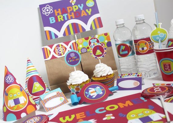 Science Birthday Party Decorations Printable - Instant Download - Science Party - Monster Birthday - Science Birthday Party - Science Favor