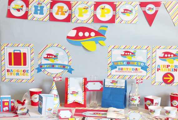 Airplane birthday diy printable party kit red by for Airplane party decoration ideas