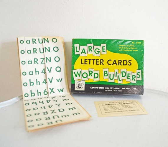 Vintage Alphabet Letter Cards Word Builder Teaching Aid Flash Cards Typography Graphic Design Kenworthy Educational Green White Yellow