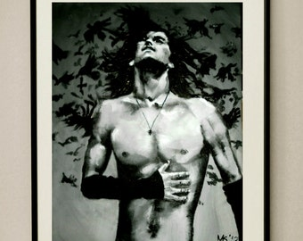 """11""""x14"""" ORIGINAL  Acrylic Black and White Painting of Jerad Leto on Canvas Signed & Dated by Artist Not Framed"""