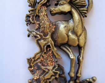 Unicorn Vintage necklace signed JJ Jonette jewelry, mythical creature- New old Stock- Made in the USA - unique gift woman