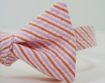 Pink and Orange Stripe Seersucker Bow Tie