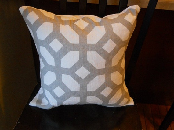 Designer Courtyard oyster geometric linen fabric throw pillow cover greige gray taupe white gate