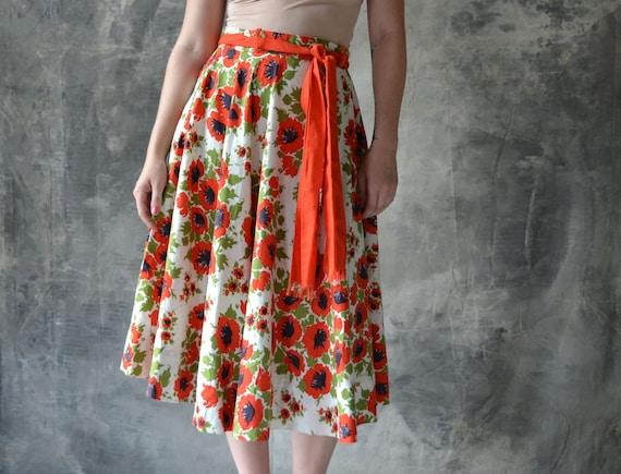 Reserved: Yan Xu 1950s RED Poppy Swing Skirt