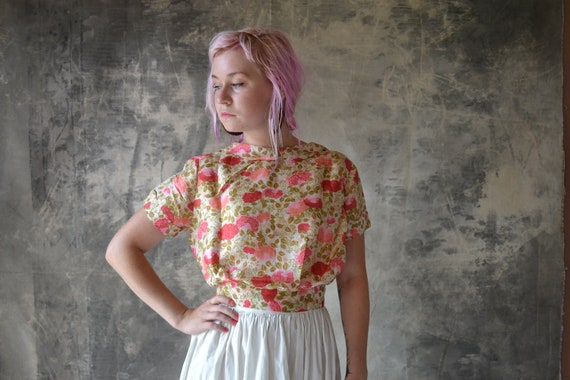 1950s Silk Floral Blouse Peonies and Cabbage Roses