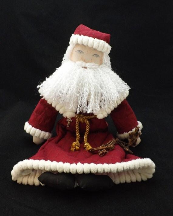 Old Fashioned Cloth Santa Claus Rag Doll OOAK