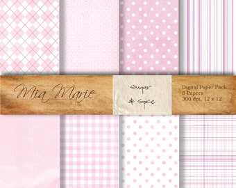 INSTANT DOWNLOAD - Digital Papers Scrapbooking Backgrounds Pink Plaid Baby Girl Argyle Dots Gingham Printable 12x12 jpg