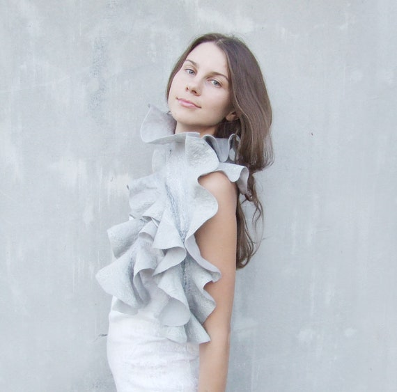 Merino Wool Scarf, Winter Shawl, Felted Scarf, Gray Wedding Scarf, Infinity Cowl, Bridesmaid Shawl, Bohemian Scarf, Chic Scarf,Stylish Scarf