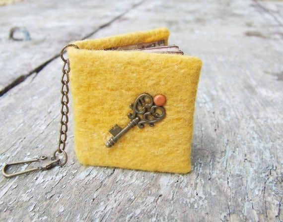 Yellow mini notebook - key chain mustard journal with vintage key rustic paper unisex for him dad dude man boy under 25 free shipping