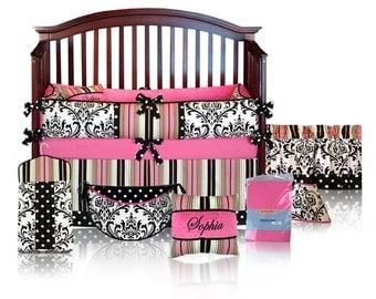 Sophia 5pc BABY GIRL Damask Crib Bedding Set - Custom Made