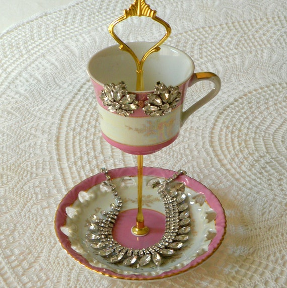 SALE Alice Sings Brightly, Rapberry Pink 2 Tier Vintage China Jewelry Stand, Business Card Holder or Mini Tea Tray - Free US Shipping