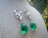 Emerald Green Earrings, Silver Orchid Earrings, Silver Green Earrings, Dangle Earrings, Gemstone Earrings, Valentines Gift