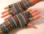 PDF Knitting Pattern: Best Sellers Striped Women Fingerless Gloves With Cabled Cuff (Medium Size, Other Sizes By Request) - mew1ab