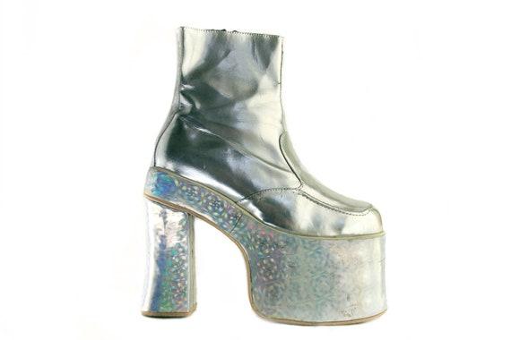 Glam Rock 90's Club Kid Holographic Platform Wedge Heels