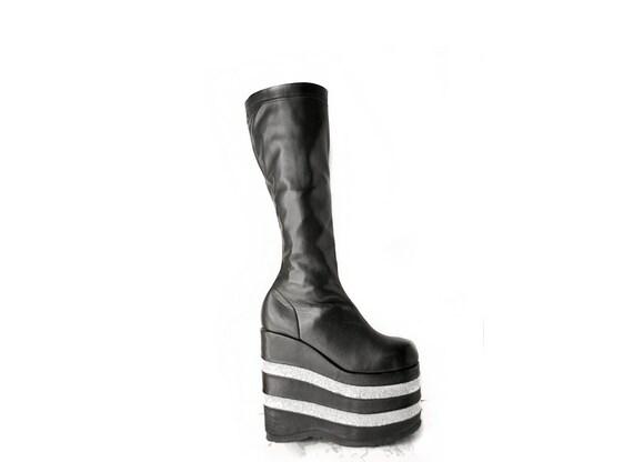 90's Mega Platform Wedge Glitter Knee Boots // 10
