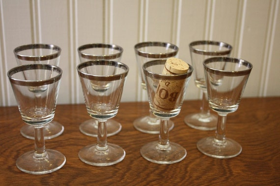 RESERVEd for Katy Milinowski Mid Century Silver Rim Cordial Stemware Glasses Set of 8