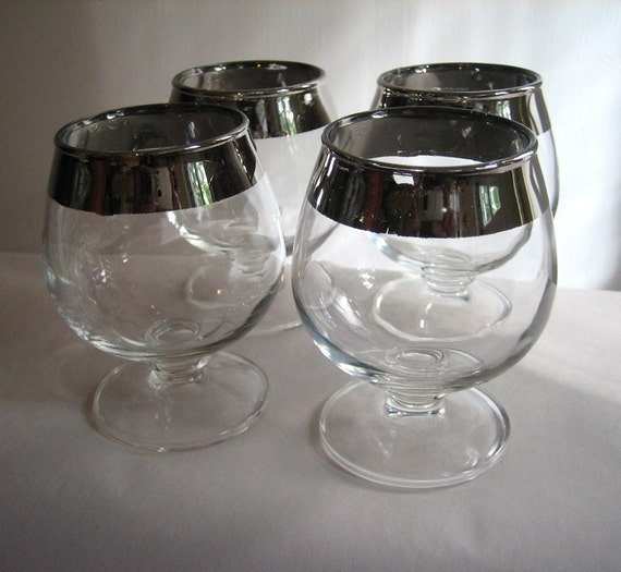 Set of 4 Mid Century Silver Rim Cordial Brandy Glasses Mad Men Style