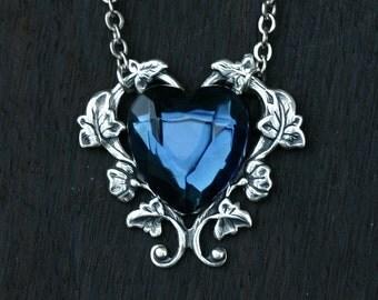 Blue Heart Necklace - London Blue Topaz