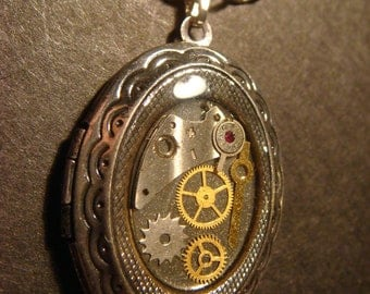 Steampunk Locket Necklace with Gears and Watch Parts - Antique Silver (553)