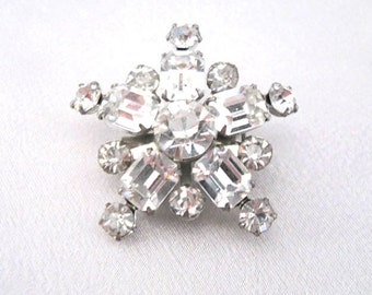 Vintage Rhinestone Star Brooch, Prong Set, Riveted Construction, Mid Century Pin, Snowflake