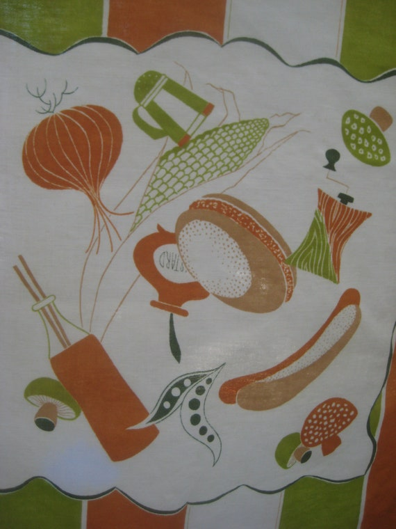 Vintage Kitchen Fabric, Food Image Fabric Panel, Food Images, Utensil Images