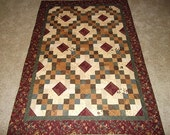 Rich and Bold Burgandy Patchwork Quilt