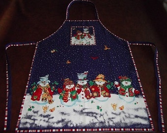 Christmas Apron - Snowmen Gathering on Purple