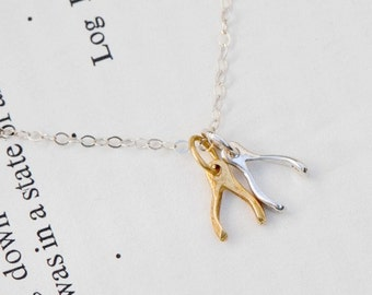 Tiny Wishbone Necklace, Mixed Metal Wishbones in Solid Sterling Silver and Gold Vermeil, Wishbone Jewelry, Everyday Layering Necklace