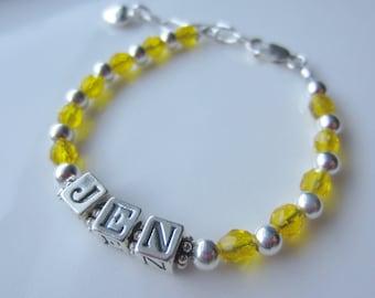Sunshine Yellow and Pewter Baby/Toddler Name Bracelet