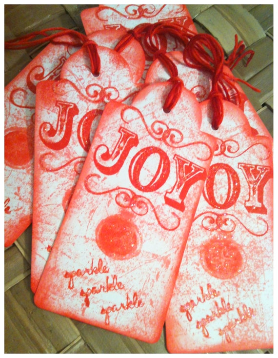 SIX Hand Inked Stamped Holiday JOY Sparkle Ornament Berry Red Dusty Red Victorian Retro Handmade Gift Tags