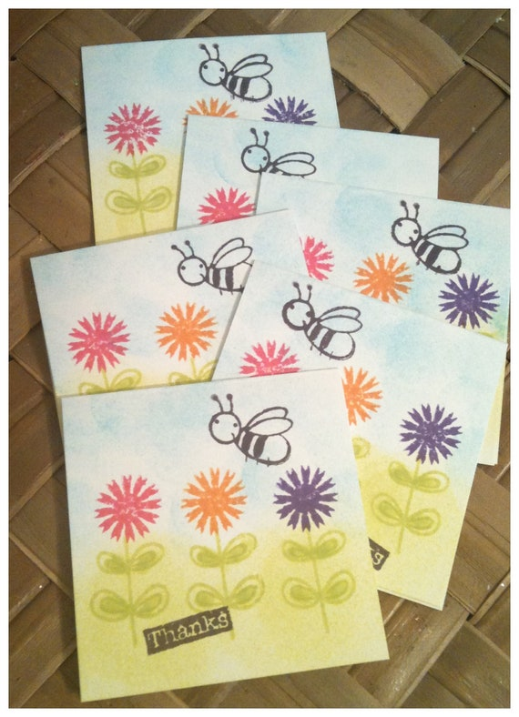 SIX Thank You Cornflower Honey Bee Pink Orange Purple Blue Skies Stamped Handcut Mini Note Cards with Envelopes All Handmade