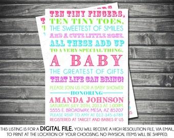 Girls Baby Shower Invitation - Typography, Pink, Green, Turquoise, Purple, Printable, Digital