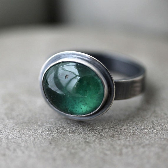 Green Tourmaline Ring, Forest Teal Blue Green Gemstone Sterling Silver Ring October Birthstone Metalsmithed Ring - Size 7 - Moss