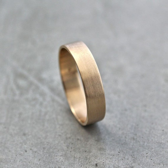 Men S Gold Wedding Band Unisex 5mm Wide Brushed Flat 10k