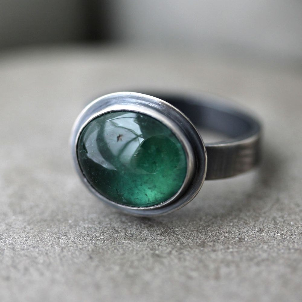 green tourmaline ring forest teal blue green gemstone by