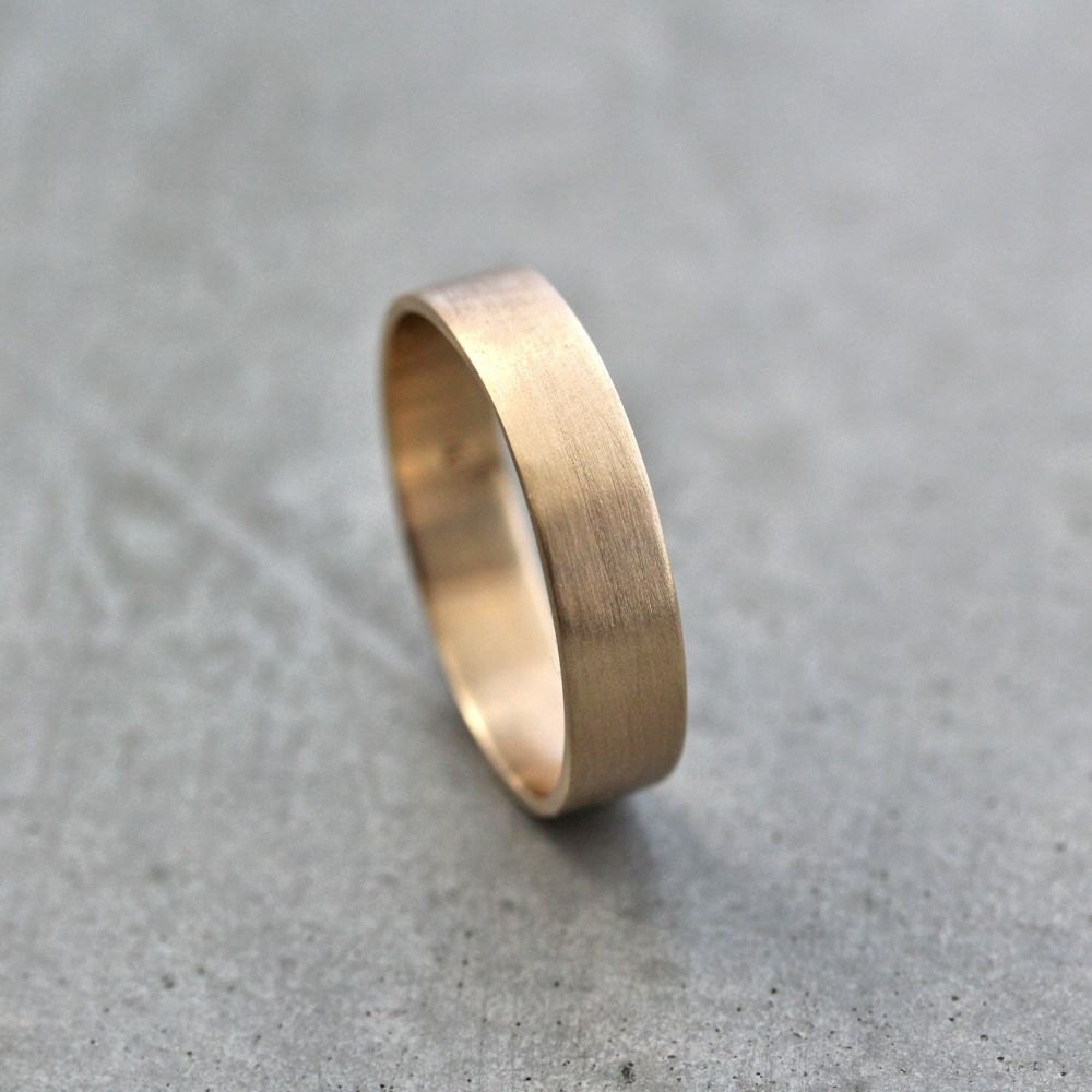 mens gold wedding band unisex 5mm wide gold mens wedding band Gold Wedding Ring zoom